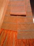 orange warp with aqua cotton weft