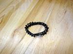black glass and hematite beads on fine hemp